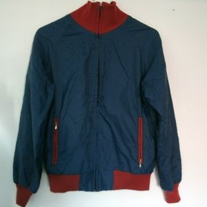 Vintage 1980s Jacket Windbreaker Navy Red